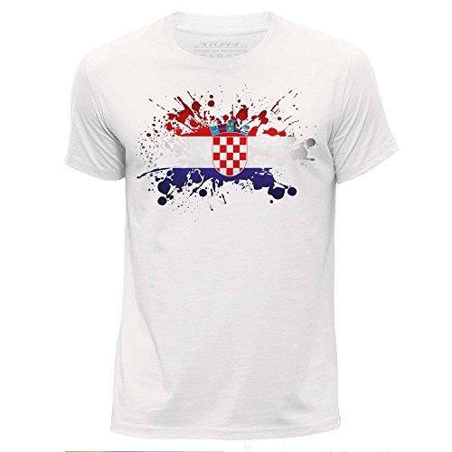 (M)/Weiß/Rundhals T-Shirt/Kroatien/Kroatisch Flagge Splat (Flagge Kleid)