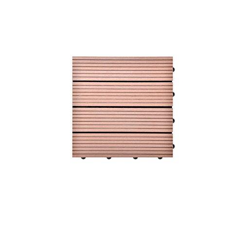 SIENOC 2 Sets de dalles de terrasse bois composite WPC Jardin (2x300*300 * 22mm Marron clair)