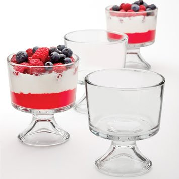 Anchor Hocking Set of 4 Glass Sundae Glasses, Glass Dessert