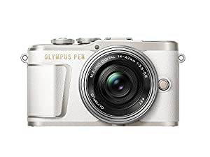 Olympus PEN E-PL9 16 MP Compact System Camera with Electric Zoom, 4K Movies, 3-Inch Display, Wi-Fi and 14 - 42 mm Pancake Lens - White/Silver