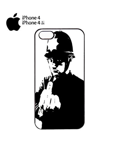 Banksy Policeman Copper Middle Finger Mobile Cell Phone Case Cover iPhone 5c Black Schwarz