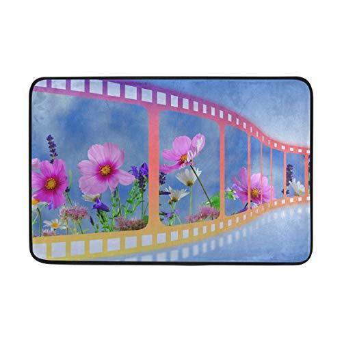 Film Flower Print Doormat Floor Mat Rug Indoor/Outdoor/Front Door/Bathroom Mats Rubber Non Slip for Kitchen Bedroom Garden 23.6x15.7 inch