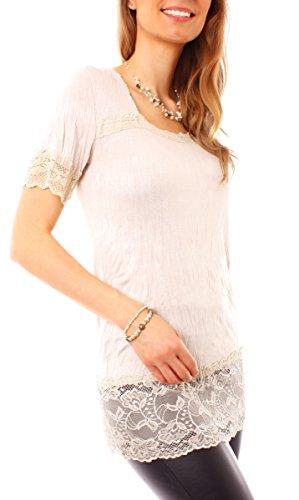 Easy Young Fashion - T-shirt - Femme Beige - Beige