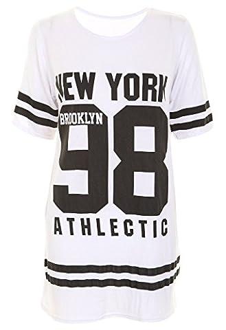 Ladies USA American Varsity Baseball Oversize Baggy T Shirt Top