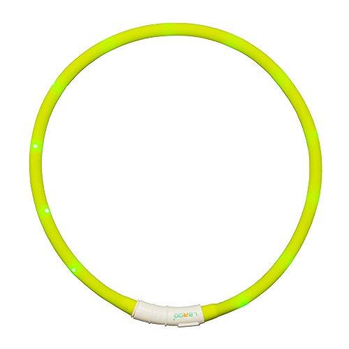 LED Hundehalsband, LaRoo™ Blinkende LED Sicherheit Hundehalsband Leichte Haustier Sicherheit Halsband mit USB Aufladbare Kabel an Haustier Sicherheitshalsband mit Verstellbaren Größe Sitz für Allen Hund, Haustier und Katzen (Zitrone Licht Nacht)