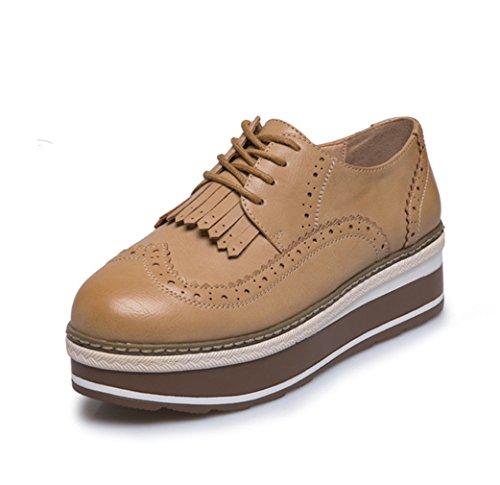 Damen Schnürhalbschuhe Plateau Barock mit Troddel Dekoriert Klassisch Britisch Stil Rundzehen Atmungsaktiv Schick Freizeit Schuhe Bräune mdGAjqwD