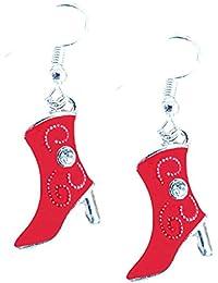 émaillé pendantes Western STRASS BOTTE DE COWBOY Boucles d oreilles ... 03597cf9e19