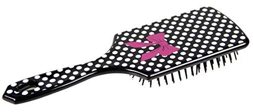 Cepillo Maxi cuadrada, color negro con topos de color blanco, diseño de pelo, diseño de lazo, color rosa