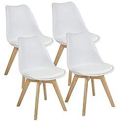 Albatros Esszimmerstühle, Kunststoff, Weiss, Eiche: 4er-Set