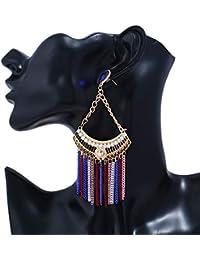 264f91040b4f Fashion Sector - Pendientes colgantes con cadena de flecos para las orejas