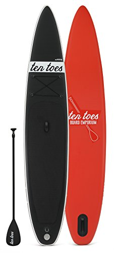Ten Toes Board Emporium Jetsetter aufblasbares Stand-Up-Paddelboard - Schwarz/rot, X-Large/35,56 cm