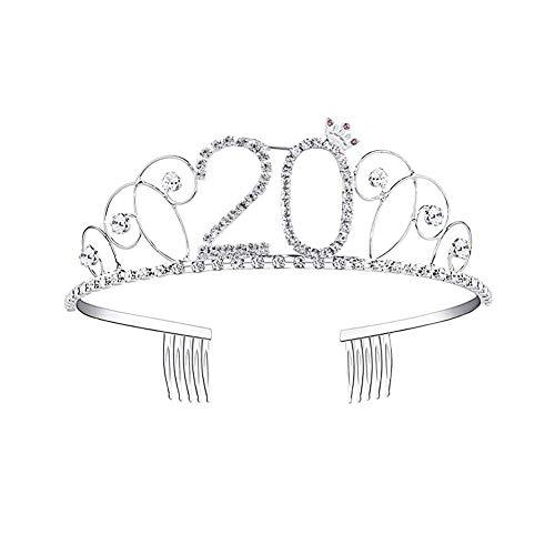 luckything Geburtstags-Krone Geburtstags Kristall Tiara Krone,Geburtstag Mädchen Glitter Krone Strass Kristall Dekor Stirnband Für 18/20/21/30/40/50/60/70/80/90 Geburtstag