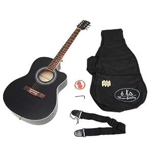 Ts-ideen 4505 Guitare folk 4/4 électro-acoustique avec Accordeur numérique LCD intégré/Egaliseur 4 bandes Noir