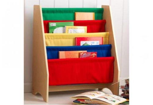 KidKraft - Bibliothèque pour enfant à compartiment multicolore - Bois naturel, tissu multicolore