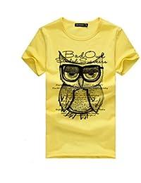 SKY Moda hombres impresión búho camisa de manga corta de algodón camiseta de la ropa