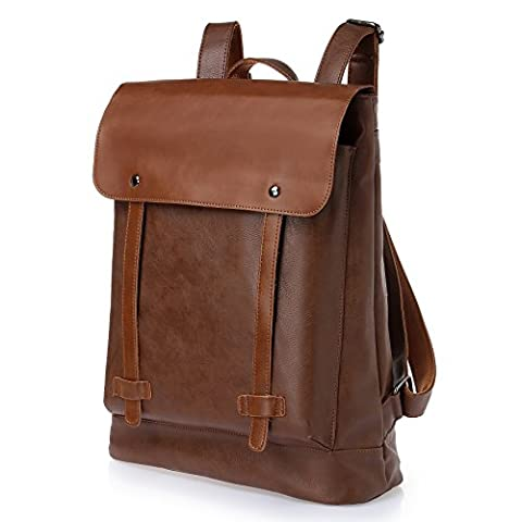 CORLISS Casual Stylish Mens Womens Fuax Leather Backpack Satchel School Daypack Business Laptop Bag Enough Room for 14