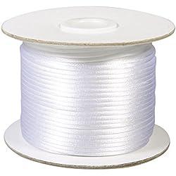 RAYHER HOBBY 5137502 satén cordón, 2 mm de diámetro, Rollo de 50 m, Blanco