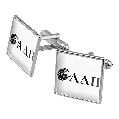 Alpha Delta PI Sorority Löwe Griechische Buchstaben schwarz Offizielles Lizenzprodukt Manschettenknöpfe, quadratisch Set Silber Farbe