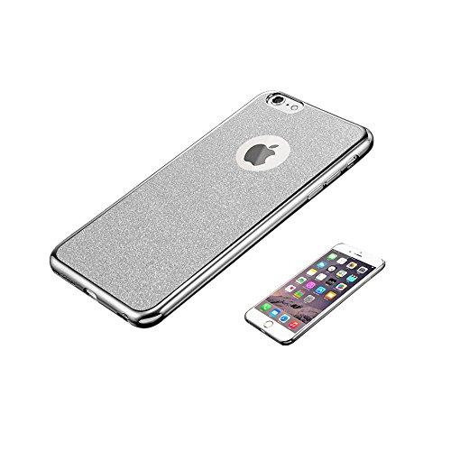 Jinberry Glitzer Schutzhülle für iPhone 7 (4.7 Zoll) / Ultra Dünne Weich TPU Case Handyhülle / Silikon Slim Tasche Back Cover Hülle für Apple iPhone 7 - Gold Silber