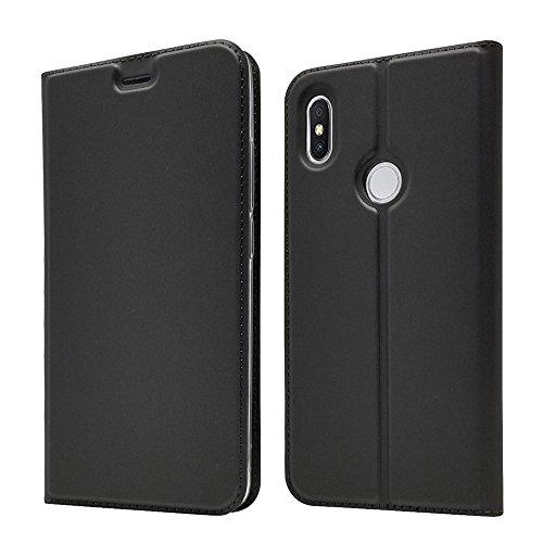 LAGUI Funda Adecuado para Xiaomi Redmi S2, Ultrafina Carcasa Minimalista Tipo Libro con tapa Imantada y Ranura para Tarjeta y Soporte Horizontal, Negro
