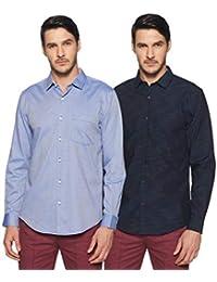 Diverse Men's Solid Slim Fit Formal Shirt (Pack of 2)