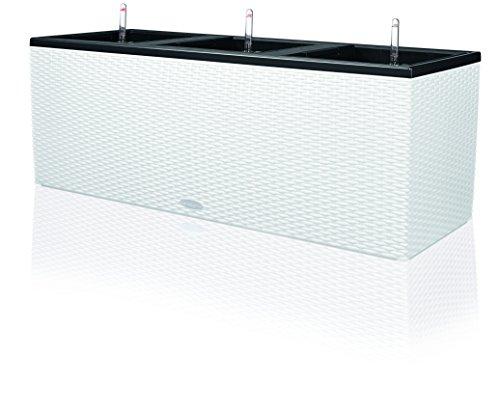 """LECHUZA \""""TRIO Cottage 40\"""" Pflanzgefäß mit Erd-Bewässerungs-System, Weiß, 130 x 42 x 44 cm"""