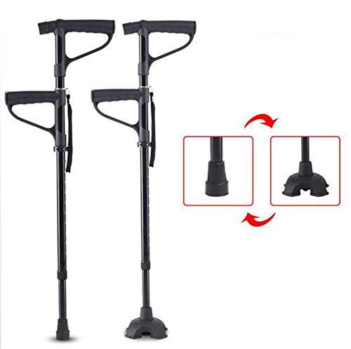 SHOWGG Gehstöcke Fahren medizinisches Aluminiumkrücken-justierbares tragbares Handleichtgewichtler für Erwachsenen, LED-Taschenlampe, der Stock des Alten Mannes