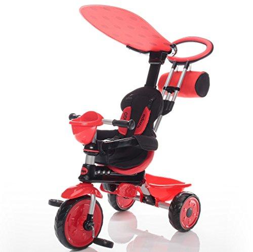 Zopa Kinderdreirad ZooGo - Kinderwagen Dreirad mit Elternlenkung und Ablagekorb - klappbares und abnehmbares Sonnendach, Sicherheitsgurte - für Kinder von 18 bis 72 Monaten - mitwachsend (Ladybug)