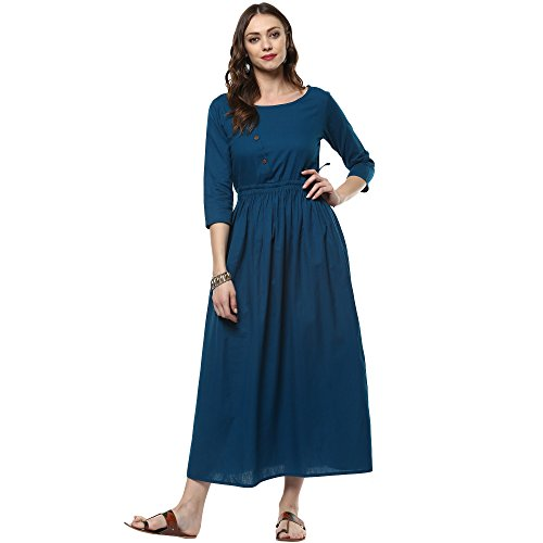 Indian Virasat Women's Cotton A-line Kurta Fashion at amazon