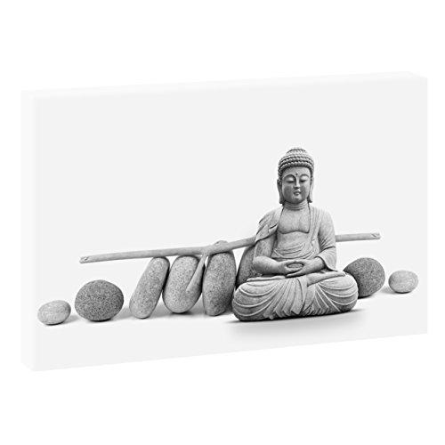 Yoga   V1710103   Bilder auf Leinwand   Wandbild im XXL Format   Kunstdruck in 120 cm x 80 cm   Bild Buddha Meditation Zen Buddhismus (Schwarz-Weiß)