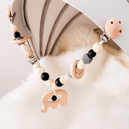 Mamimami Home 1pc Baby Spielzeug aus Holz Elefant Kinderwagen String Links Clip auf Kinderwagen Neugeborenen Montessori Spielzeug