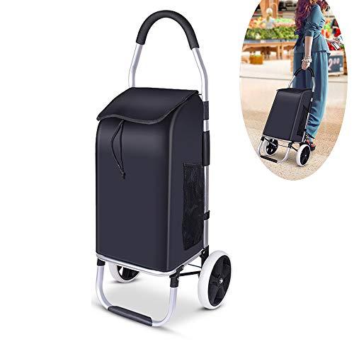 Große Rollen Rucksack (FEZBD Einkaufswagen Faltbarer Einkaufswagen Solide mit Abnehmbarer Tasche Multifunktionaler Gepäckwagen mit großer Kapazität und Rollen Abnehmbarer Rucksack,2wheel)
