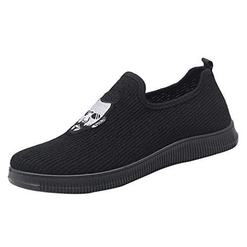Baskets FantaisieZ Baskets Plates Respirantes en Maille pour Hommes Chaussures de Course Slip-on Décontractées Sneakers Chaussures Brodées de Noir