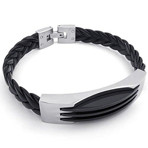 AnaZoz Modeschmuck Edelstahl Herren Armband Le 8 '' Schwarz Silber