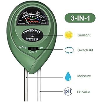 lumi/ère et testeur de pH acidit/é Tifanti 3/en 1/testeur de sol M/ètre dhumidit/é Plante kit de testeur de sol pour jardin Ferme pelouse etc.