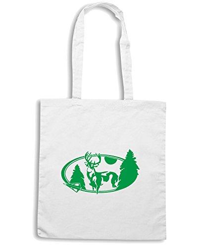 T-Shirtshock - Borsa Shopping FUN1179 deer oval diecut decal 66587 Bianco