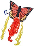 Invento HQ100306 - Butterfly Kite Monarch R Kinderdrachen Einleiner, ab 5 Jahren, 34x52cm und 2x300 cm Drachenschwanz, inkl. 10kp Polyesterschnur 25m auf Griff, 2-5 Beaufort