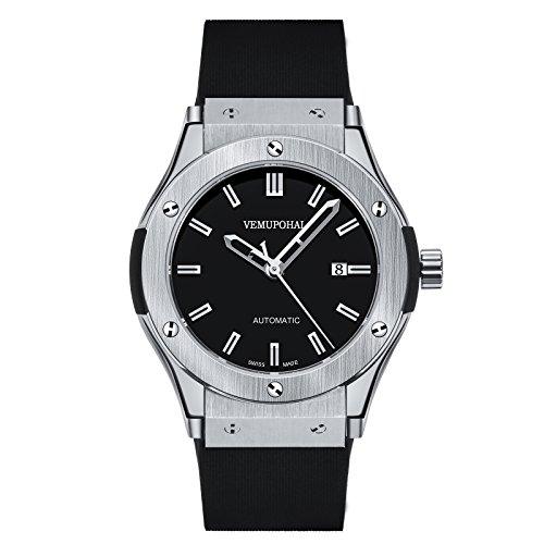 Vemupohal Uhren Herrenuhr Herren Armbanduhr Mechanische mit Edelstahl-Armband