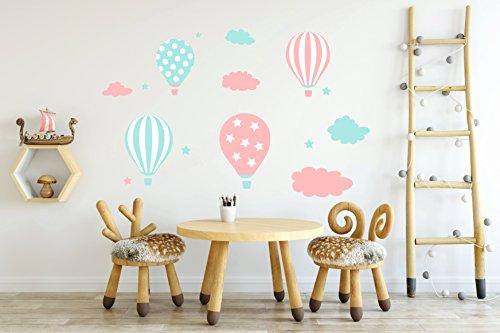 madras24 Etiqueta de la Pared Pegatinas de Pared Pegatinas para niños Globo Globos Nubes Nube Habitación para niños salón jardín de la Infancia Escuela decoración Sala de Estar (B32B XL)
