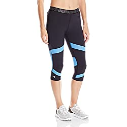 Under Armour CoolSwitch Spliced Capri Leggings Piratas, Mujer, Negro y Azul, XS