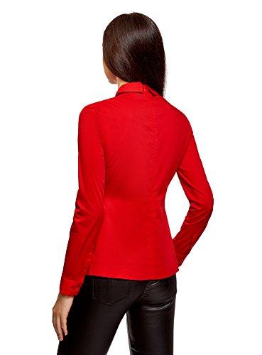 oodji Ultra Damen Bluse mit Schößchen und Verzierung Am Kragen Rot (4500N)