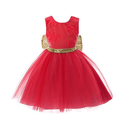BOZEVON Mädchen Taufe Kleid - Neugeborenes Kleinkind Baby Mädchen Pailletten Bowknot Floral Sleeveless Nette Spitze Prinzessin Taufe Hochzeit Partei Kleider für 0-5 Jahre alt Rot