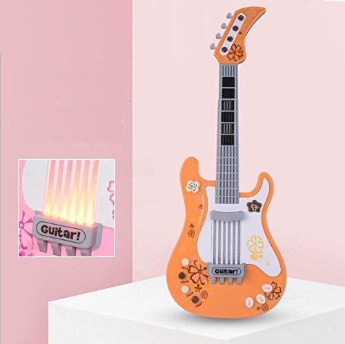 ZoraQ Kinder pädagogische Musik Spielzeug Geburtst Multifunktionale Kinder Simulation Kürbis Herz Vier Saiten Bass-Gitarre Instrument (Orange)