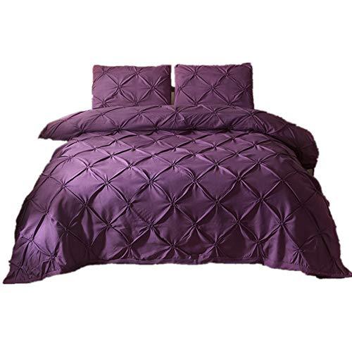 CHAOSE Einfarbig, Hotel, Haus Special Bettwäsche Set,Superweiche Polyester-Baumwolle,3-teilig (1 Bettbezug + 2 Kissenbezüge 48x74cm) (Lila, King Size(220x240CM 2M Breites Bett))