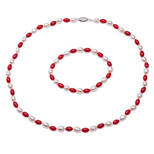 JYX Perlen- und Korallen-Kette, Armband, handgefertigt, einreihig, elegant, 5,5-6 mm, natürliche Süßwasser-Zuchtperlen in Reisform, weiße Perle und rote Koralle, Halskette, Armband für Damen, 48,3 cm