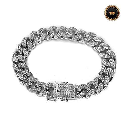 Z-Bracelet@ 7-9Inch Iced Out Panzerkette Armband 18K Gold Plattiert Vergoldet Cuban Link Armbänder Chain Kubanische Gliederarmband 3A CZ Hip Hop,Whitegold,8inch -