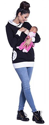 Zeta Ville - Sweat-shirt allaitement maternité détails contraste - femme - 467c Noir & Blanc
