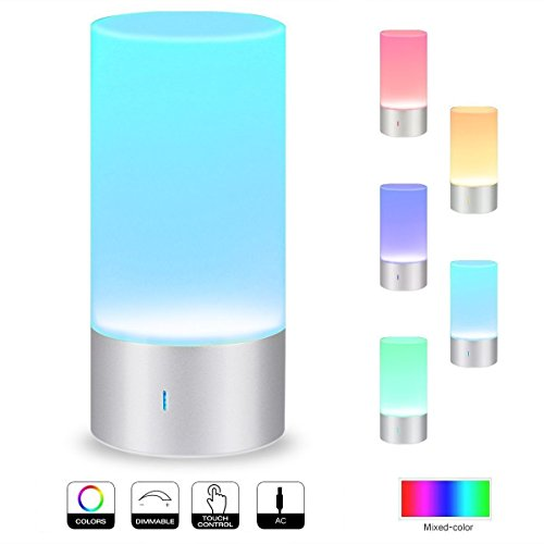 Deluxe LED Nachttischlampe mit Farbwechsel, Dimmer und Touch Funktion | Stimmungslicht Tischlampe Nachtlicht Tischleuchte Schlafzimmerlampe Nachttischleuchte Touch Lampe Schlummerlicht Nachtlampe
