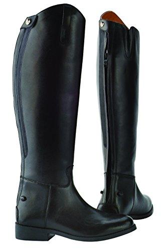 Sächsische Reitstiefel, Erwachsene, schlicht, hoher Schaft, normale Passform,Schwarz schwarz - schwarz