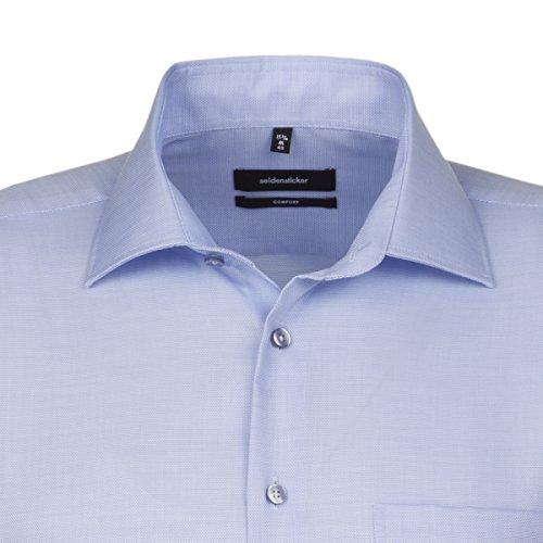 SEIDENSTICKER Herren Hemd Comfort 1/1-Arm Bügelfrei Uni / Uniähnlich City-Hemd Kent-Kragen Kombimanschette weitenverstellbar hellblau (0011)